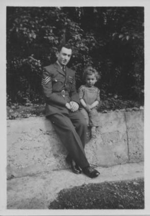 Loreto in RAF uniform and his son Barry c1954 at 15 Plympton Ave, Brondesbury, London jpeg