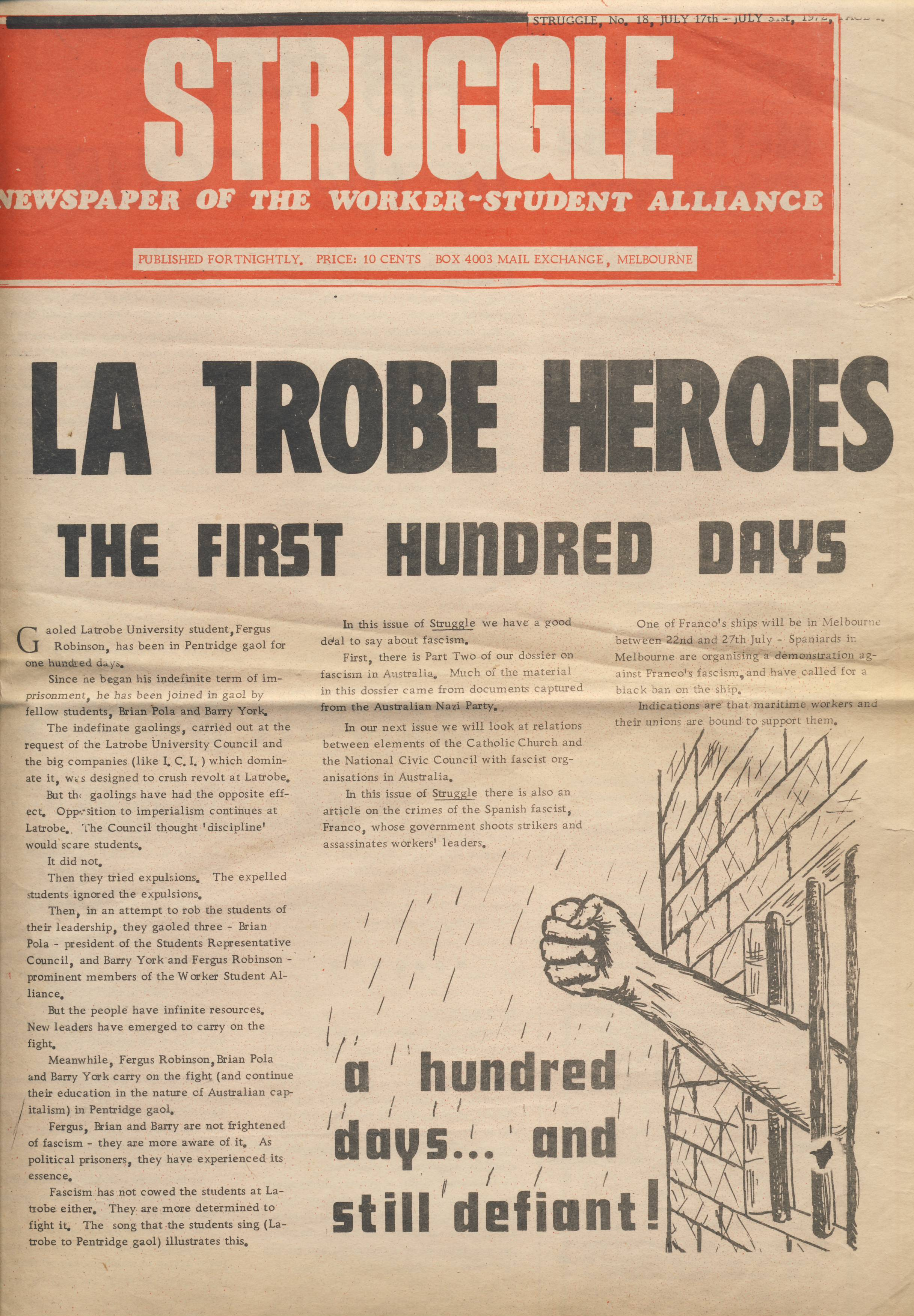 Struggle - La Trobe heroes cover 1972