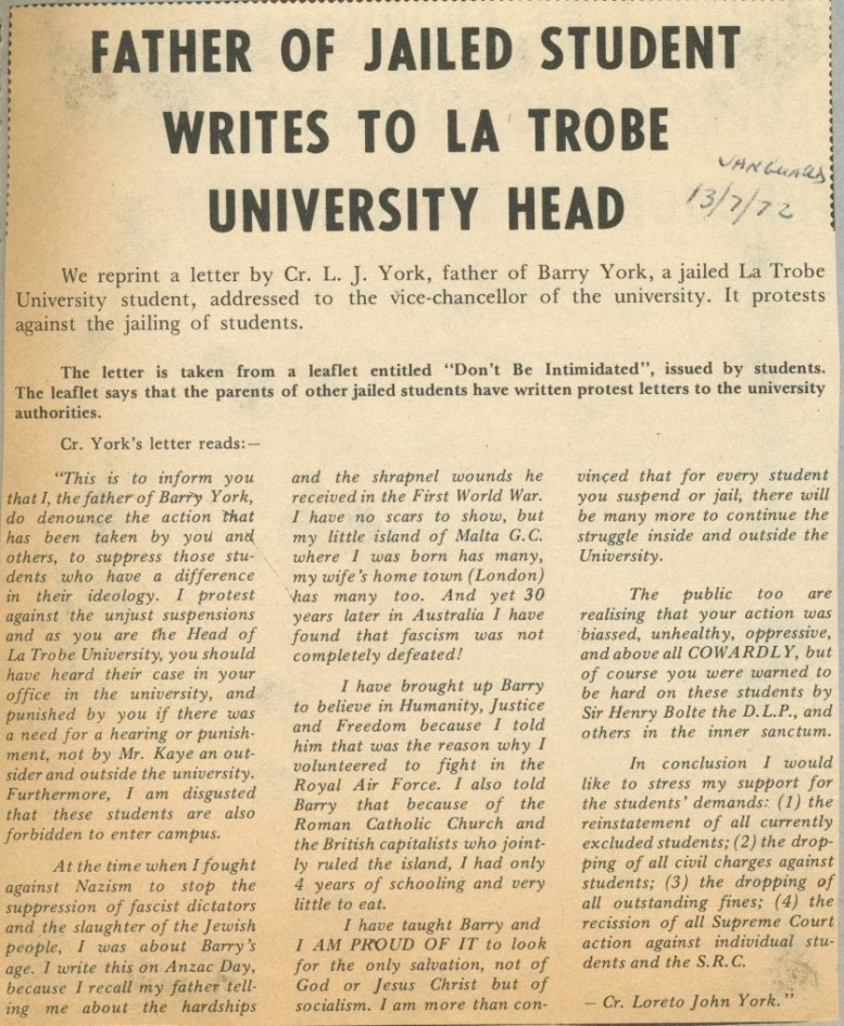 loreto york letter to vice chancellor myers, published in vanguard 13 july 1972